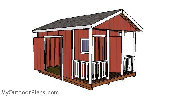 12x12 Gable Shed With Porch Plans Myoutdoorplans Free