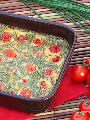 Cherry Tomatoes and Chives Flan