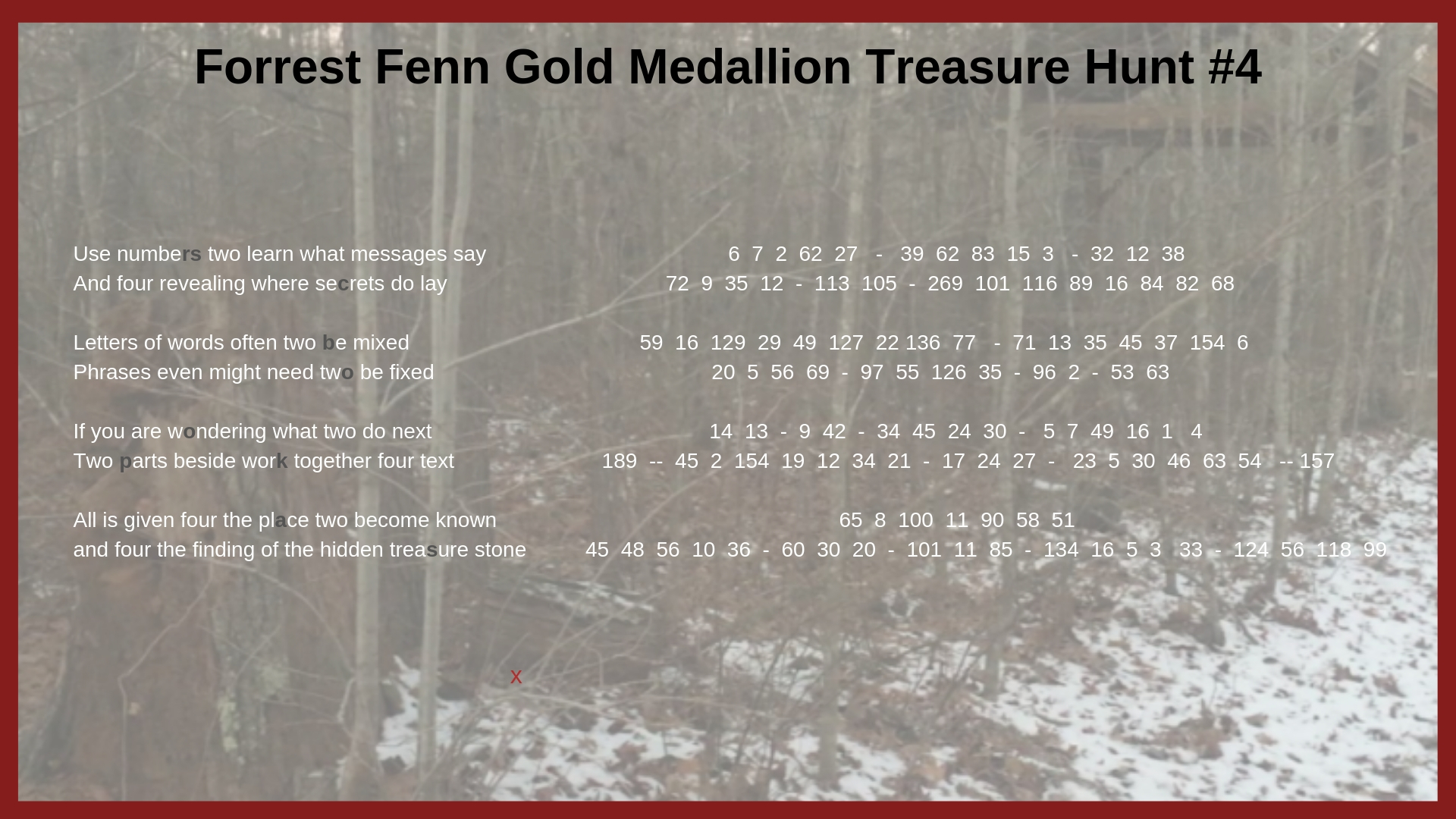 Forrest Treasure Fenn Update