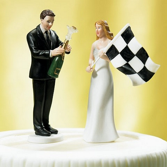 Checkered Flag Bride Amp Champagne Groom Wedding Cake Topper Set