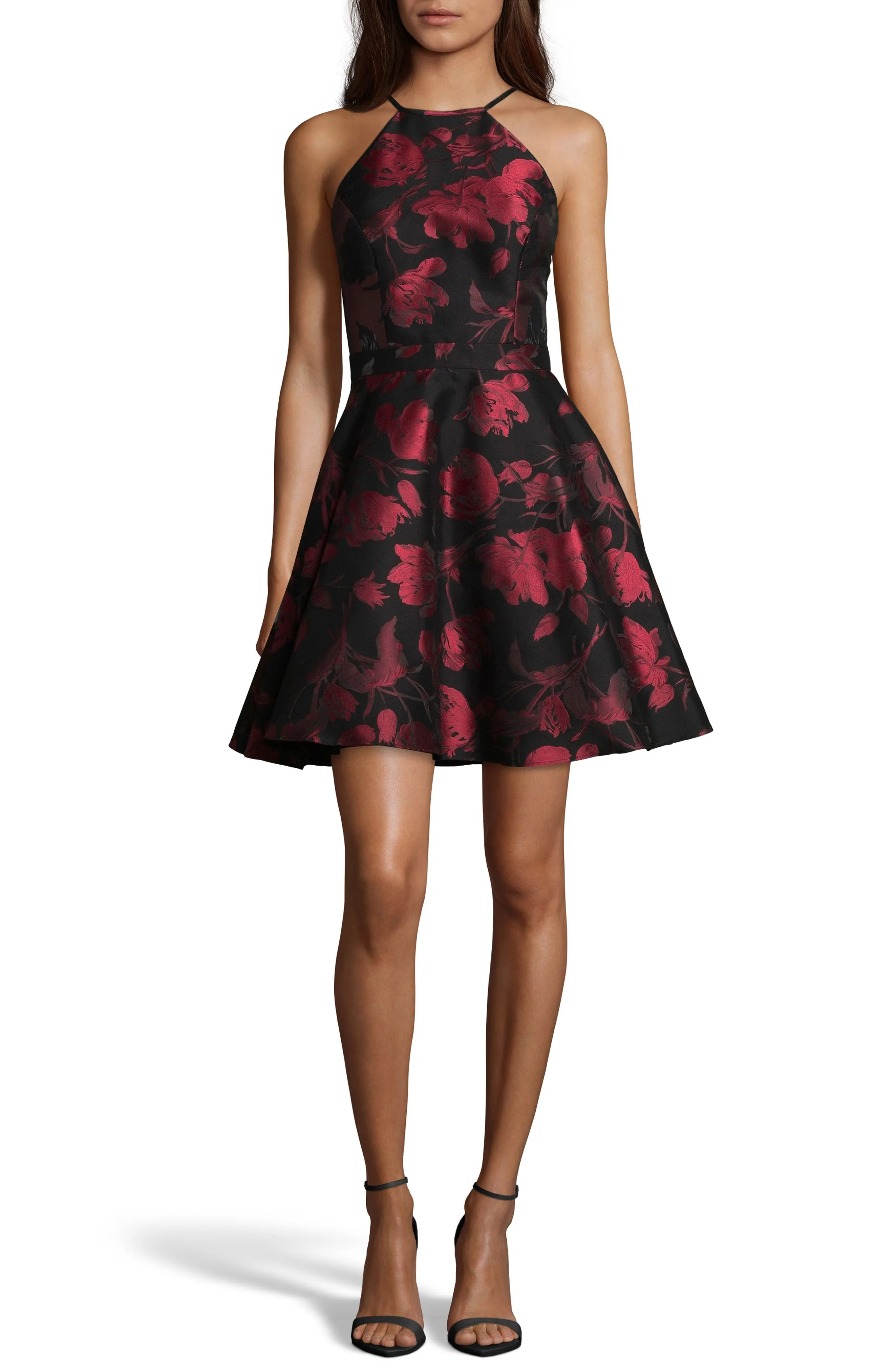 Xscape Women s Clothing   Nordstrom Xscape Halter Neck Brocade Fit and Flare Party Dress
