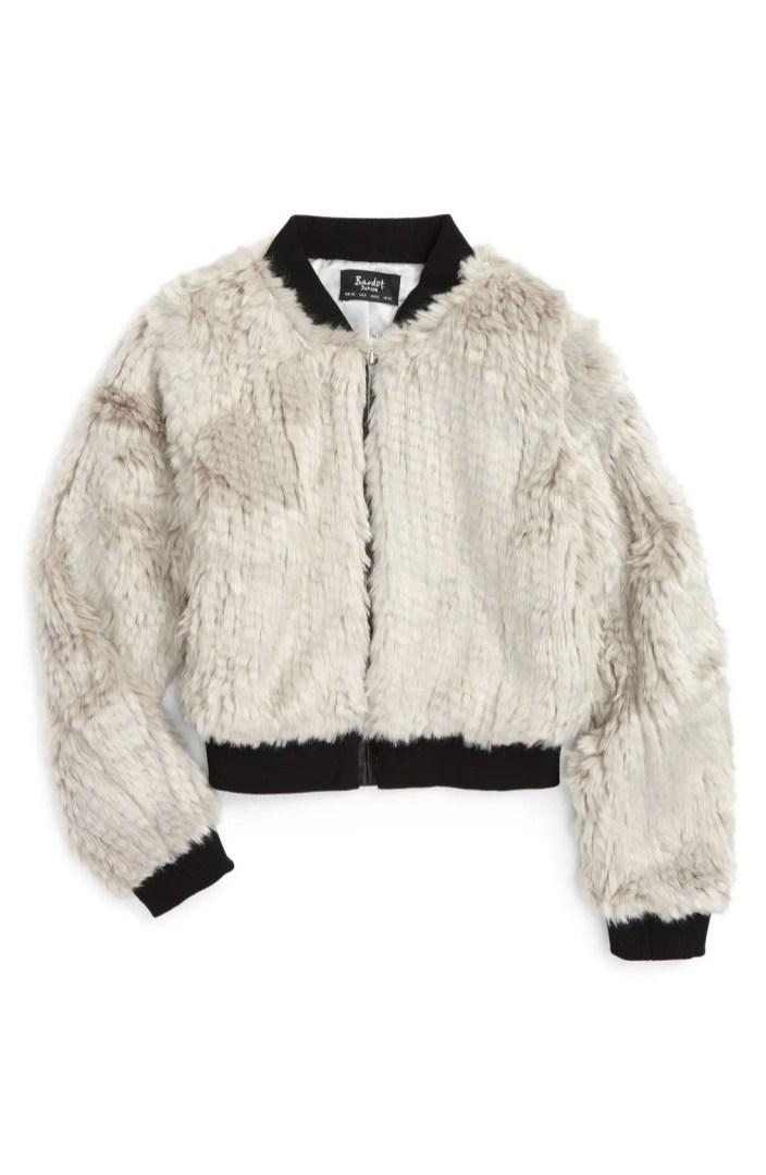 Bardot Junior Faux Fur Bomber Jacket Toddler Girls