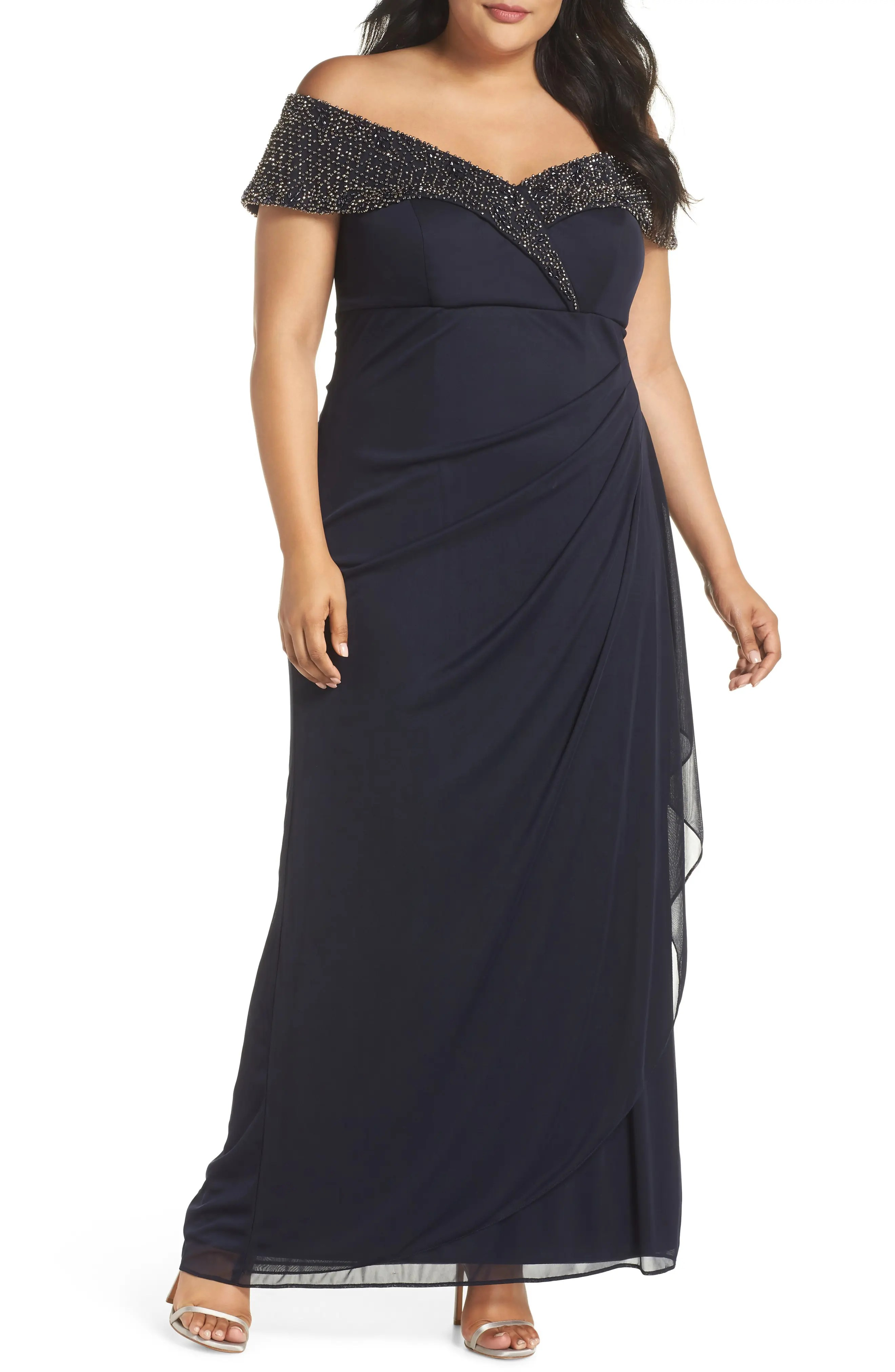 Xscape Women s Clothing   Nordstrom Xscape Beaded Off the Shoulder Gown  Plus Size
