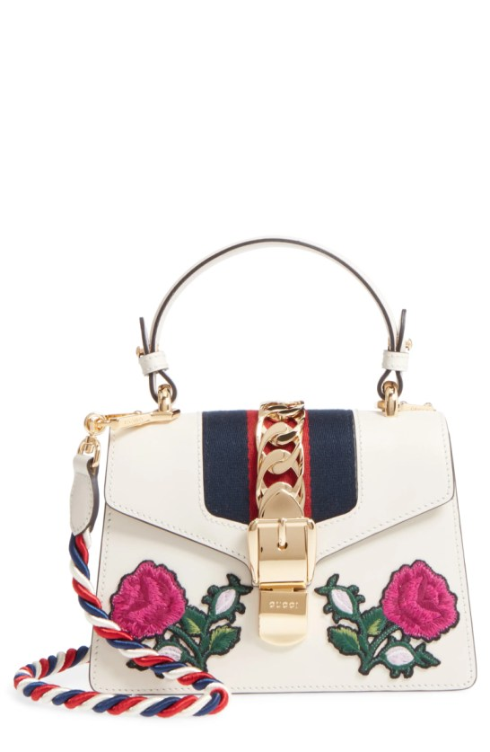 178dd22ff75c Gucci Mini Sylvie Embroidered Floral Leather Shoulder Bag Nordstrom