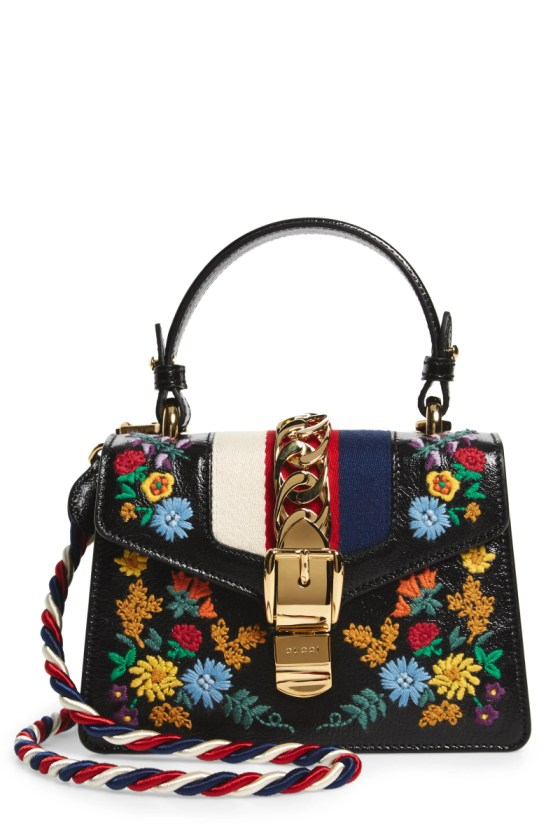 4fbe875db544 Gucci Mini Sylvie Flower Embroidery Leather Shoulder Bag Nordstrom