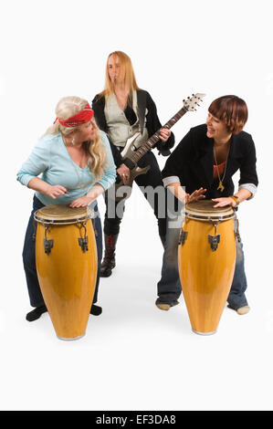 musician behind percussion instruments Stock Photo ...