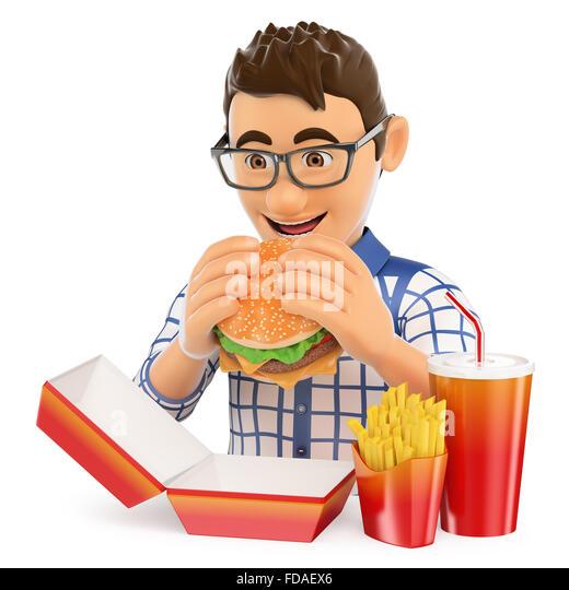 Happy Fat Guy Eating Burger