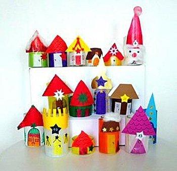 Bild: 5 - Adventskalender basteln: Häuser auf Kartons positionieren