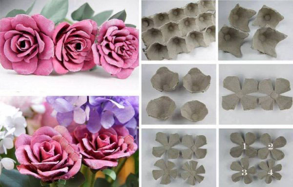 The process of creating roses from egg tray