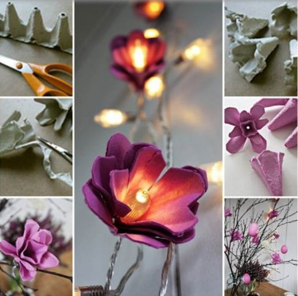 Flower garland with LEDs