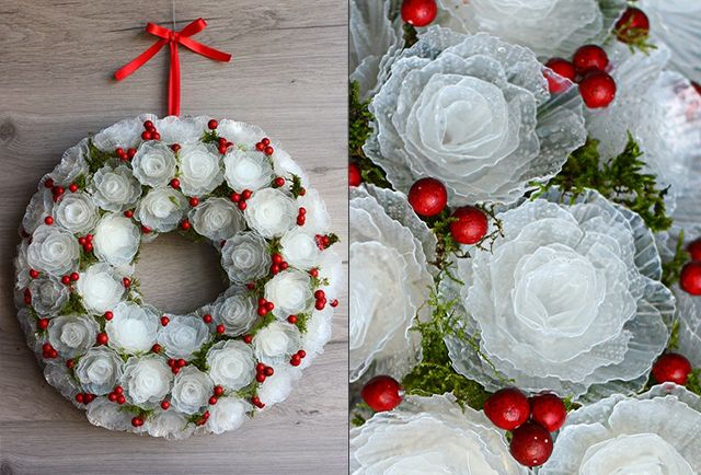 Krismas Wreath of Plastik Roses