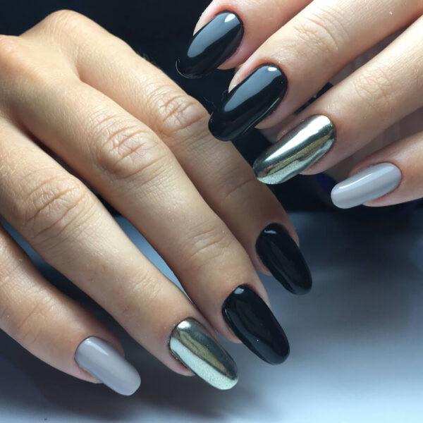 Kim loại làm móng bạc với màu đen