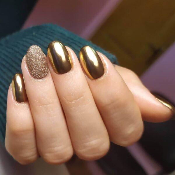 Metall manikyr guld med gnistrar