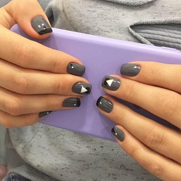 Gray Manicure for Long Nails