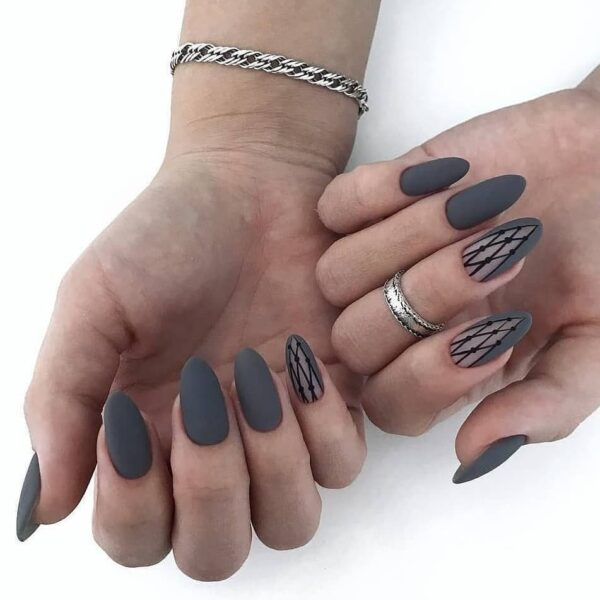 Gray manicure with pattern
