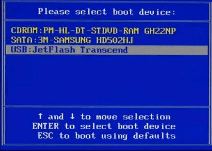 Selecione a unidade flash no menu de inicialização