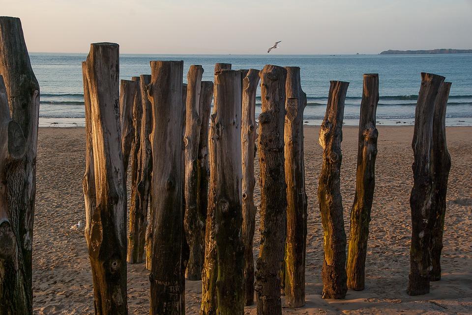 Kůli na krásné pláži v Saint Malo, Francie