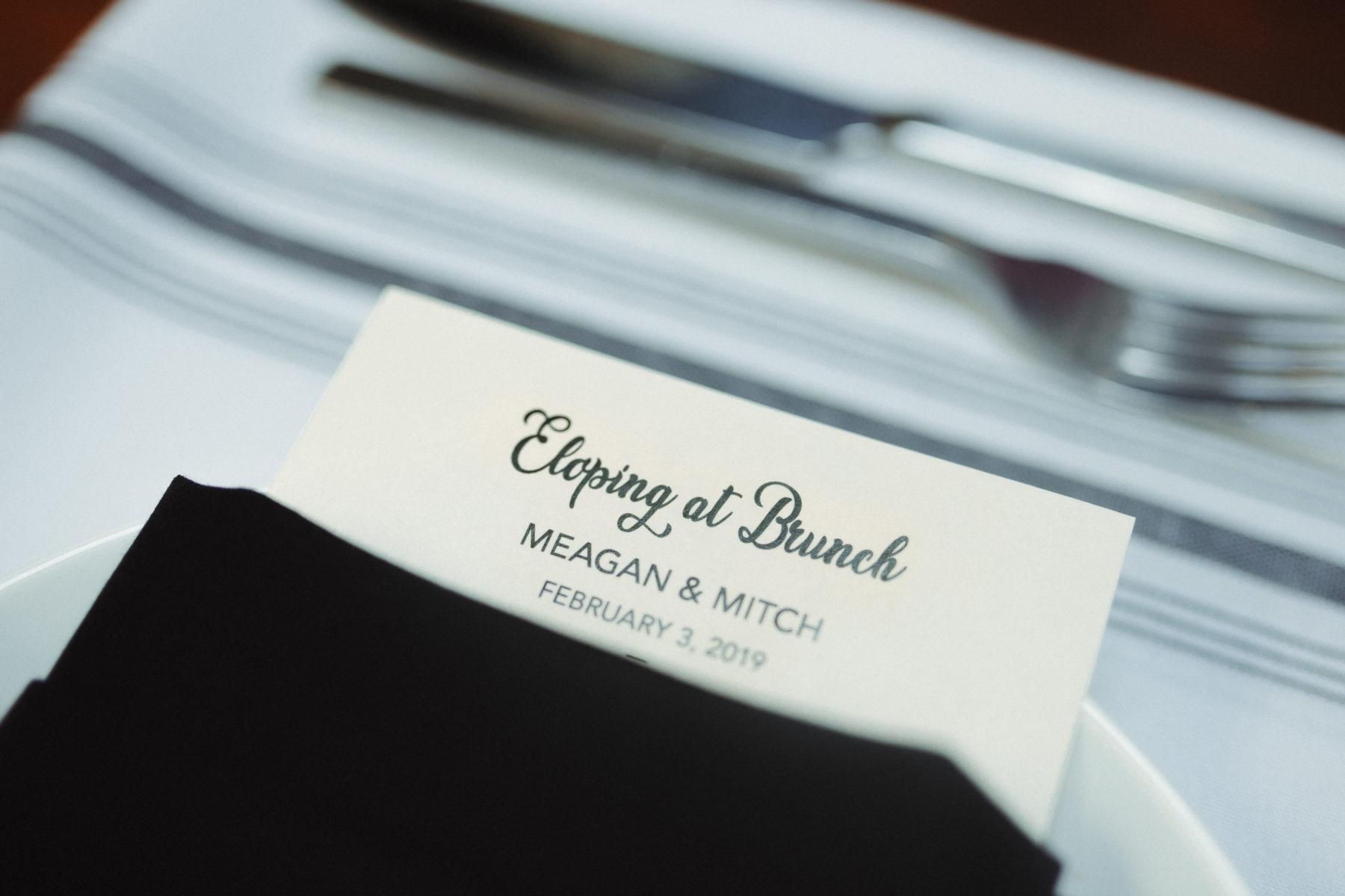 Wedding menu design: Nashville brunch elopement featured on Nashville Bride Guide
