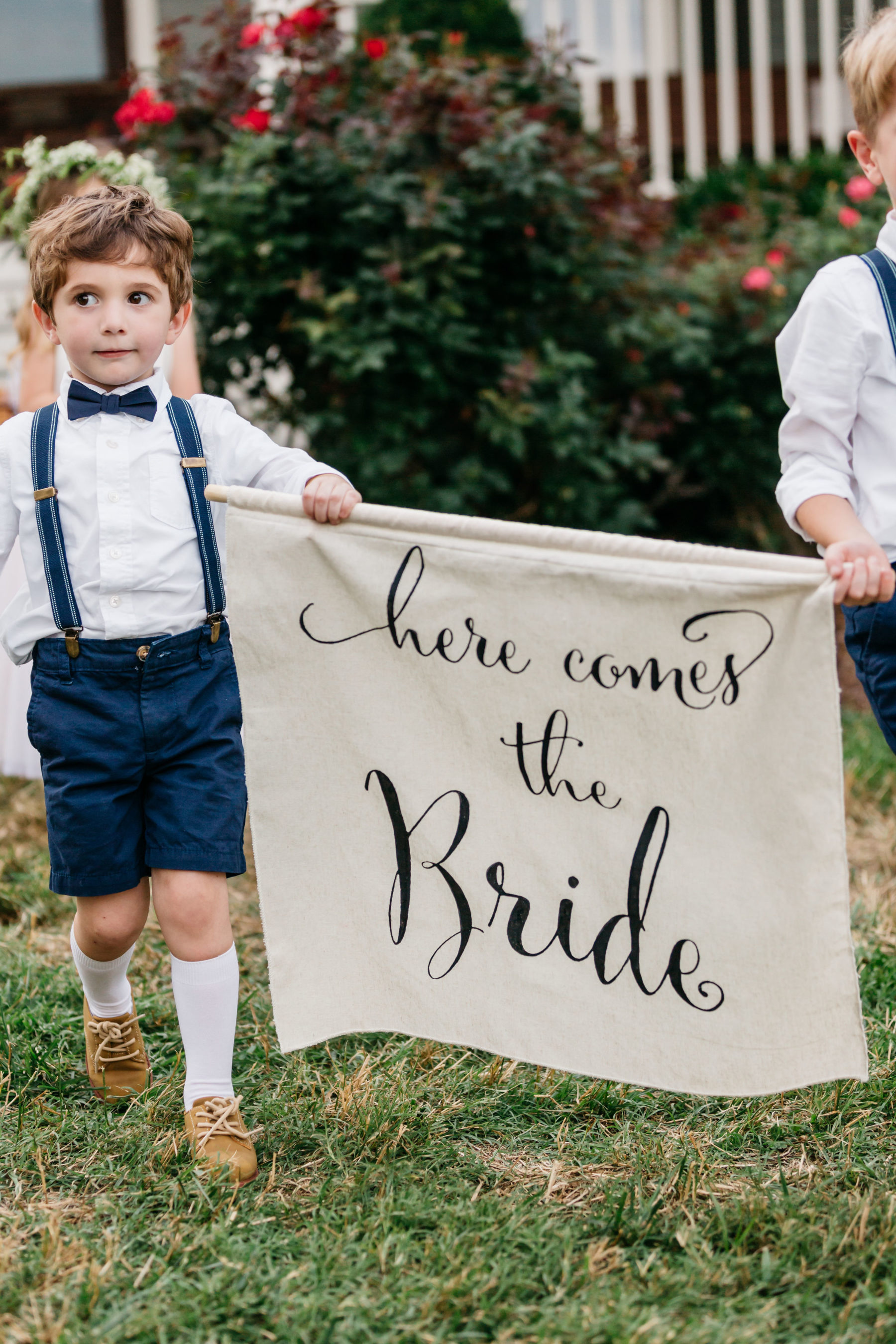 Wedding ceremony sign: Rustic Front Porch Farms wedding featured on Nashville Bride Guide