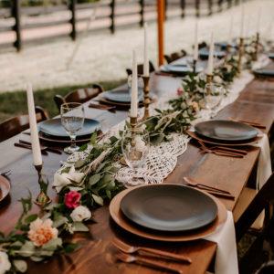Greenery wedding table runners for outdoor Nashville wedding