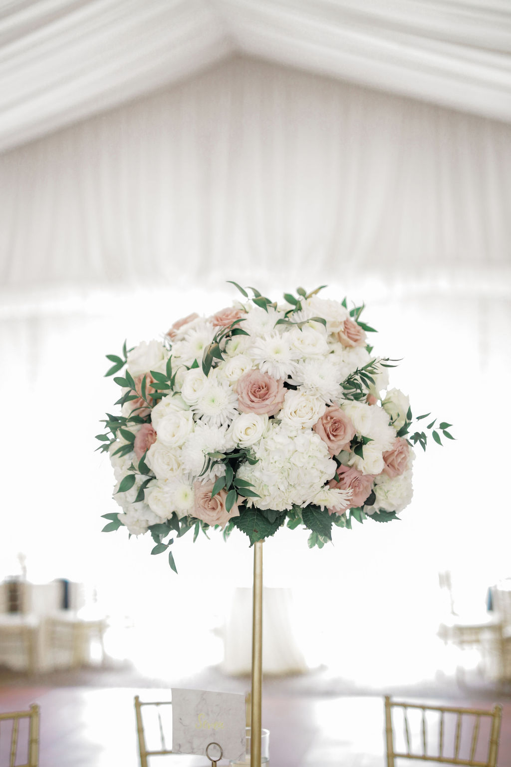 Tall pink and white wedding centerpieces: Wedding portrait by Nashville wedding photographer Maria Gloer Photography