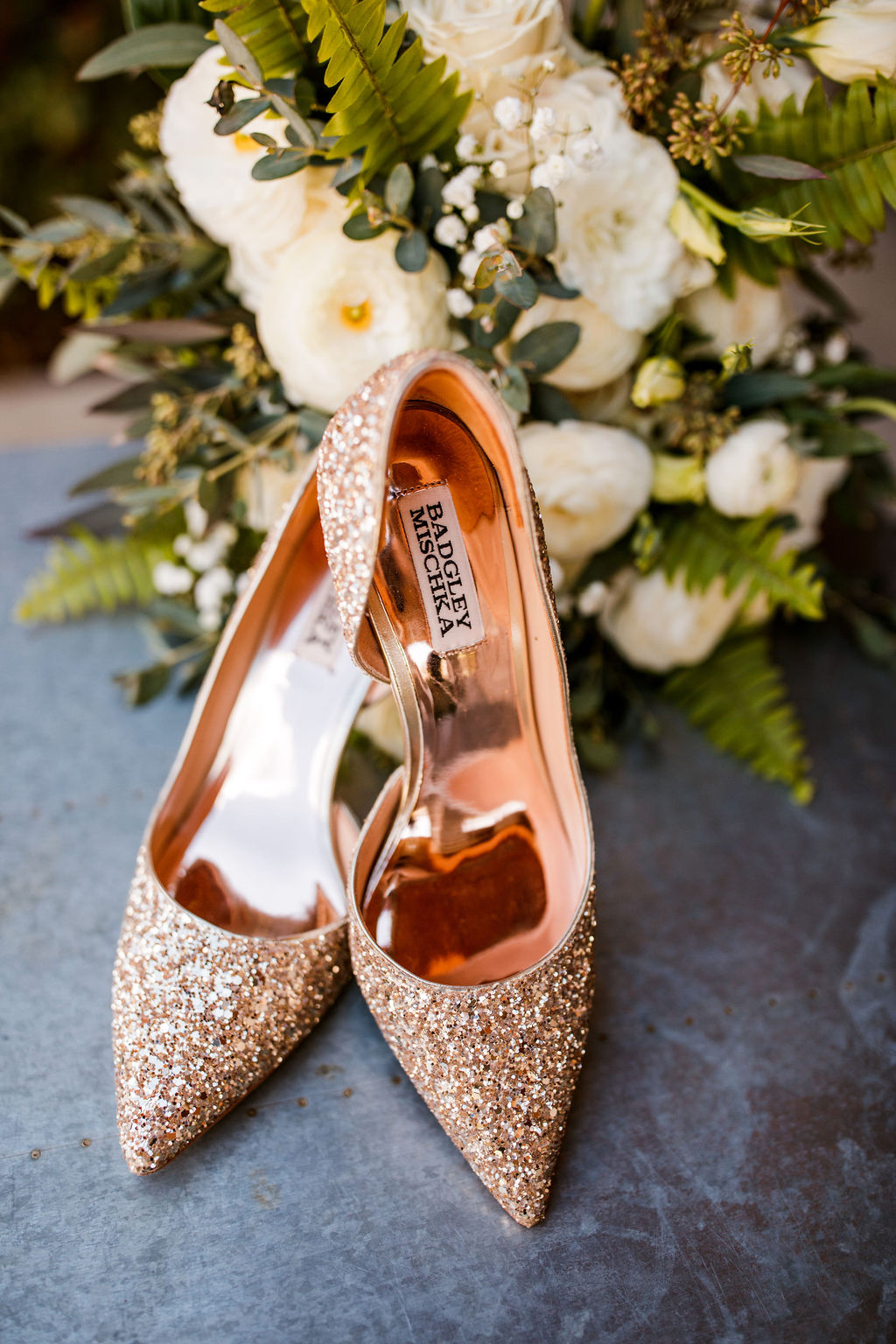 Sparkly Badgley Mischka Wedding Shoes: Beautiful Graystone Quarry Wedding captured by John Myers Photography & Videography