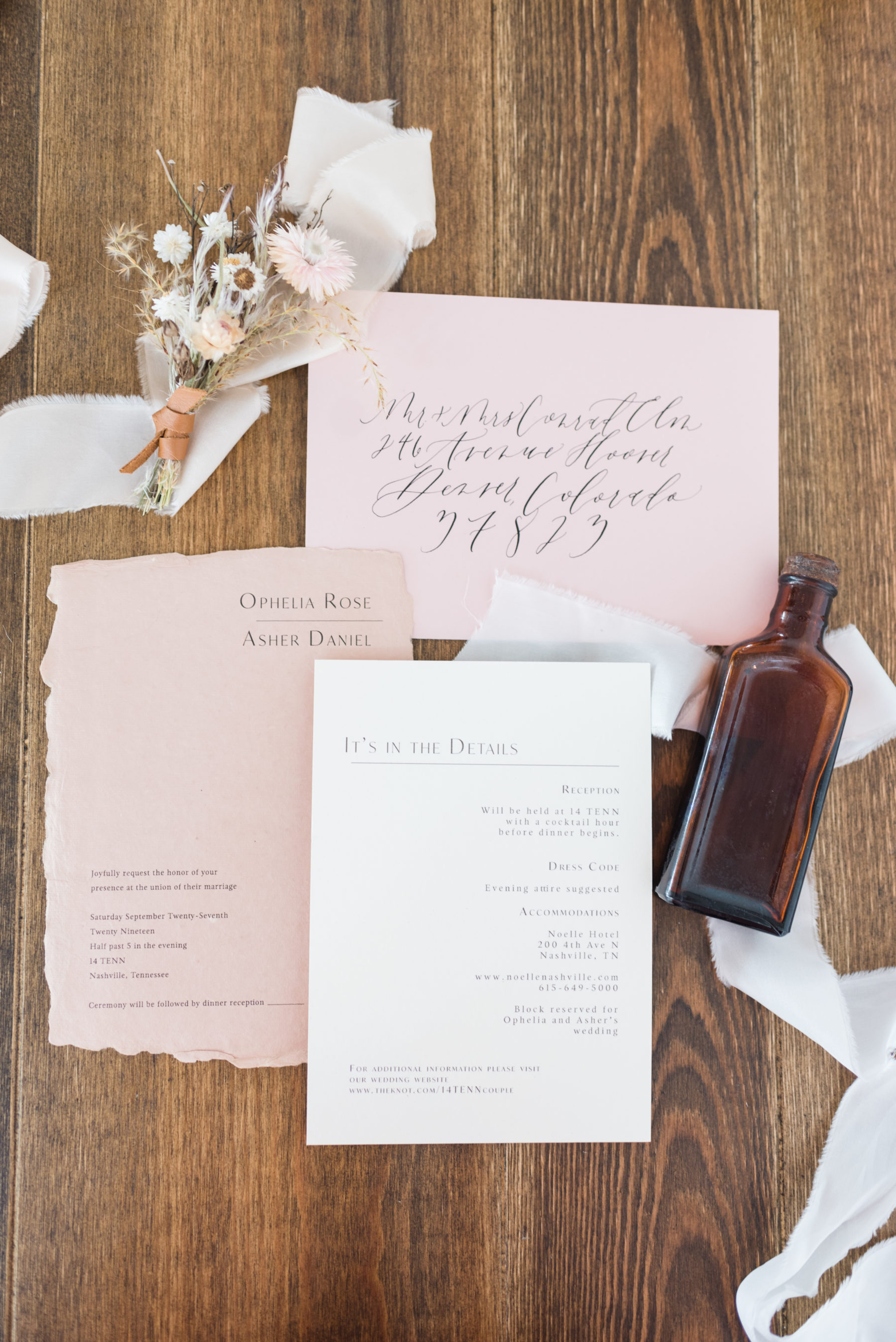 Blush Pink Wedding Invitation Suite: Organic Eco-Friendly Wedding Styled Shoot featured on Nashville Bride Guide