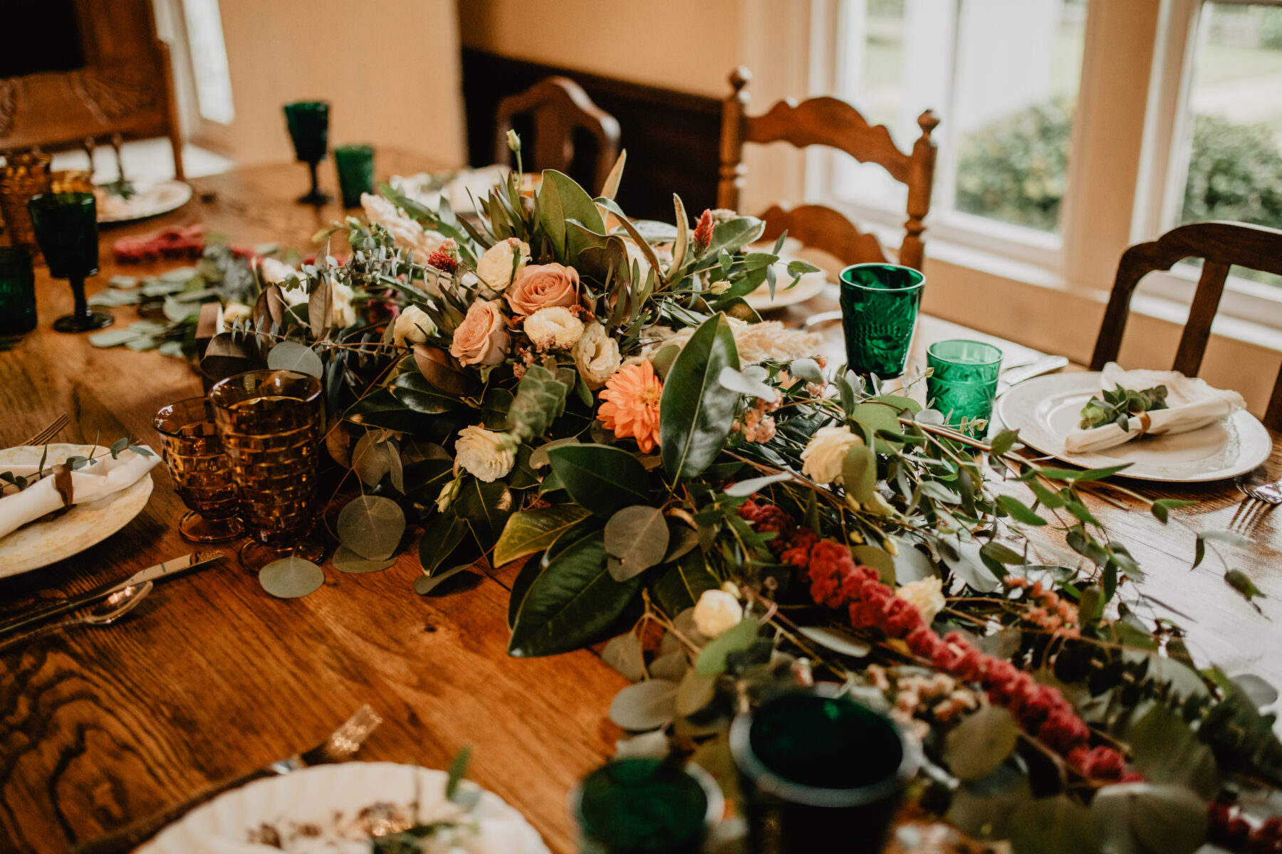 Orange and greenery wedding centerpieces: Stunning Fall Styled Shoot at Promise Manor featured on Nashville Bride Guide