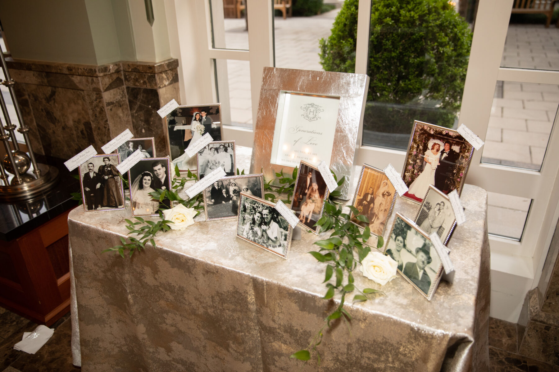 Generations of love wedding reception decor: Floral Filled Luxurious Wedding by LMA Designs featured on Nashville Bride Guide
