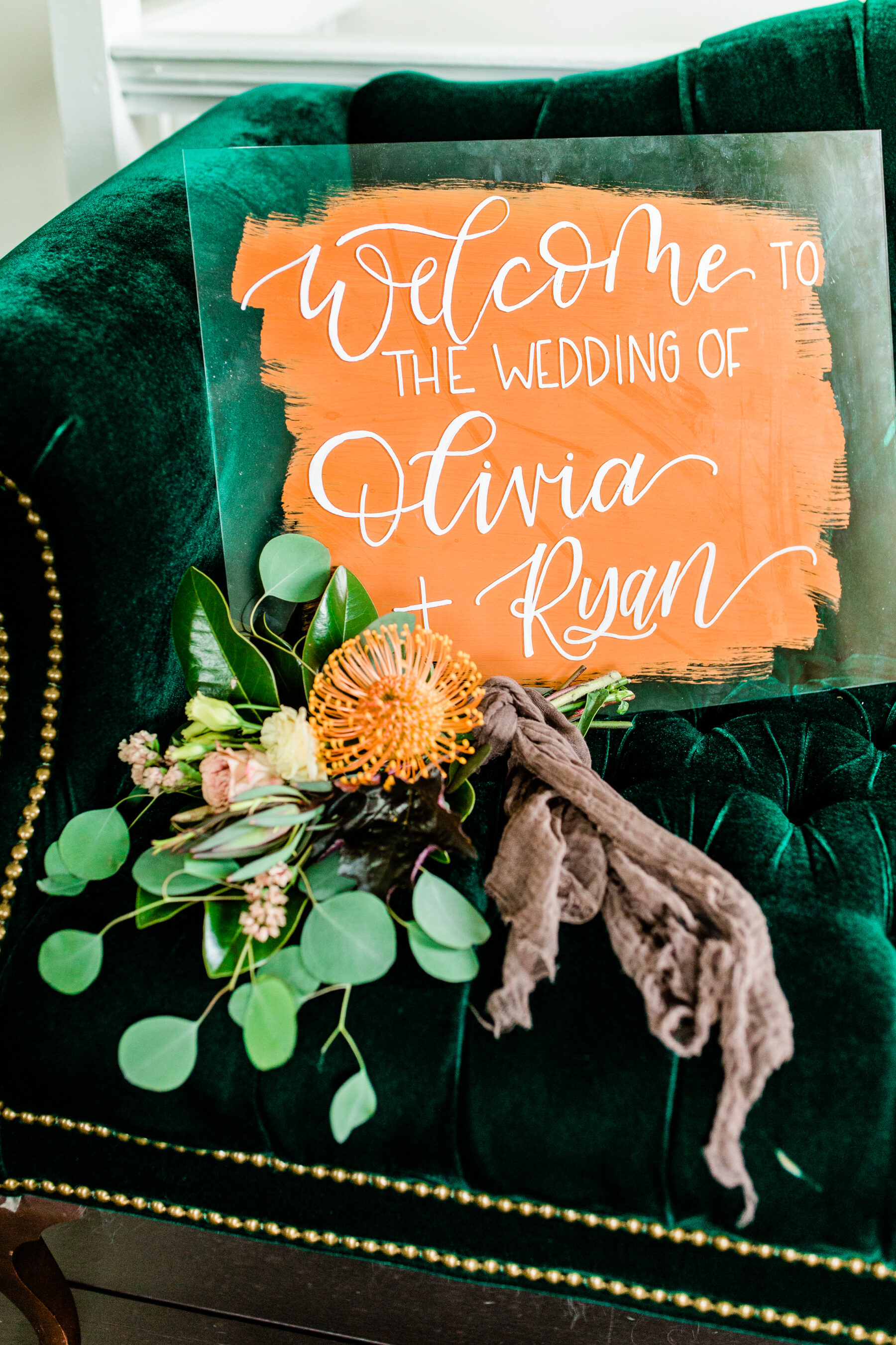 Orange and white wedding sign: Stunning Fall Styled Shoot at Promise Manor featured on Nashville Bride Guide