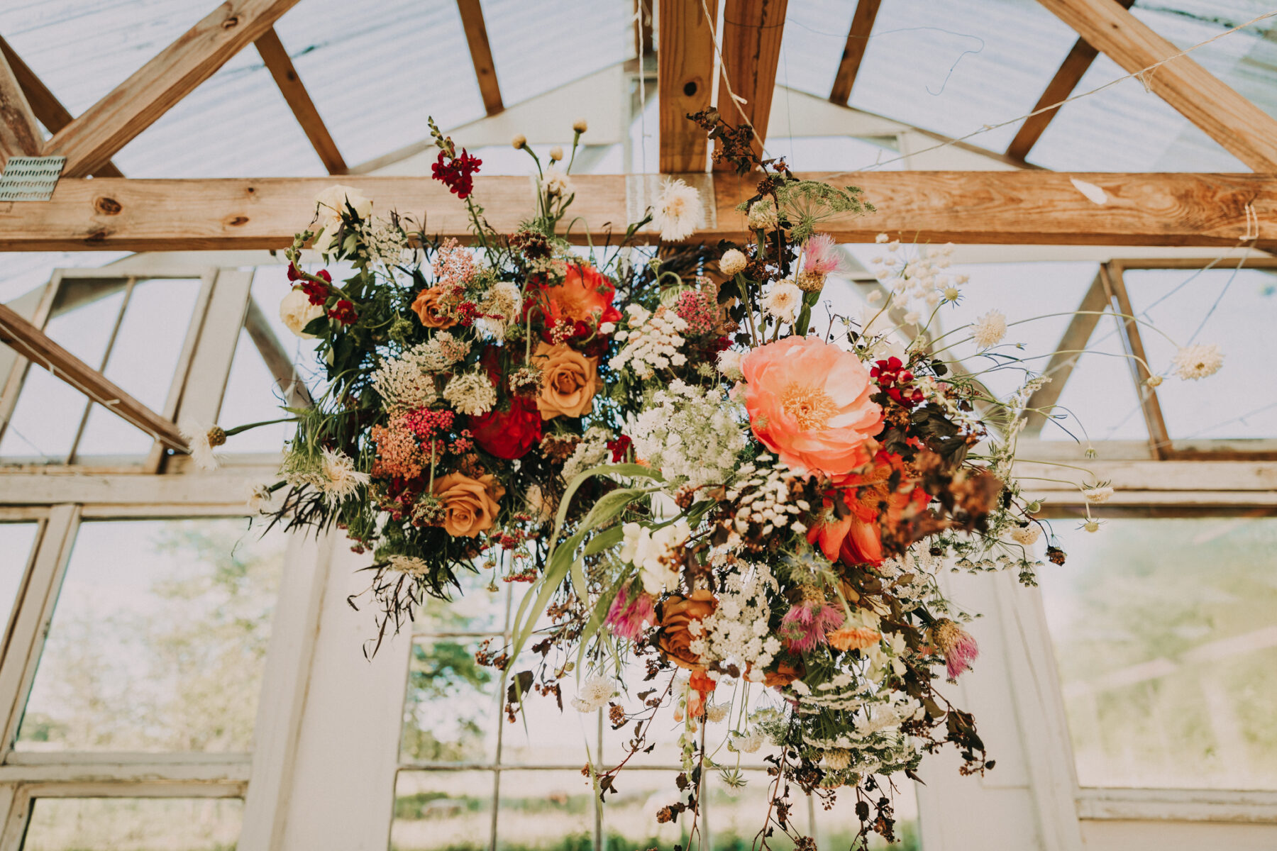 Hanging floral chandelier at wedding ceremony: Flower Farm Styled Shoot by Billie-Shaye Style featured on Nashville Bride Guide