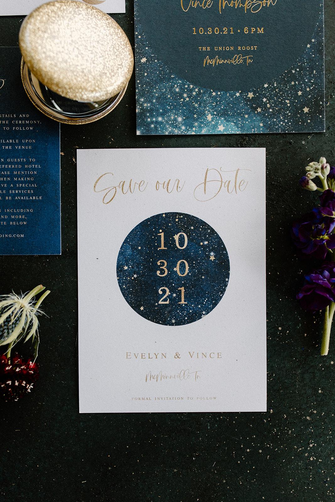 Celestial wedding save the dates