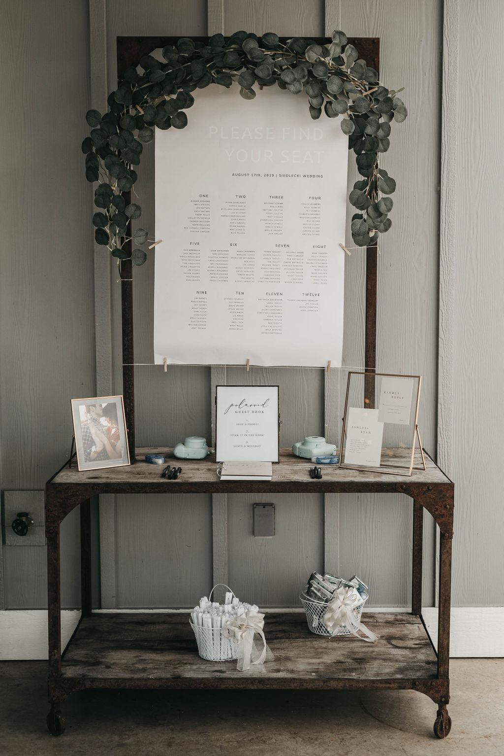 wedding reception welcome table display