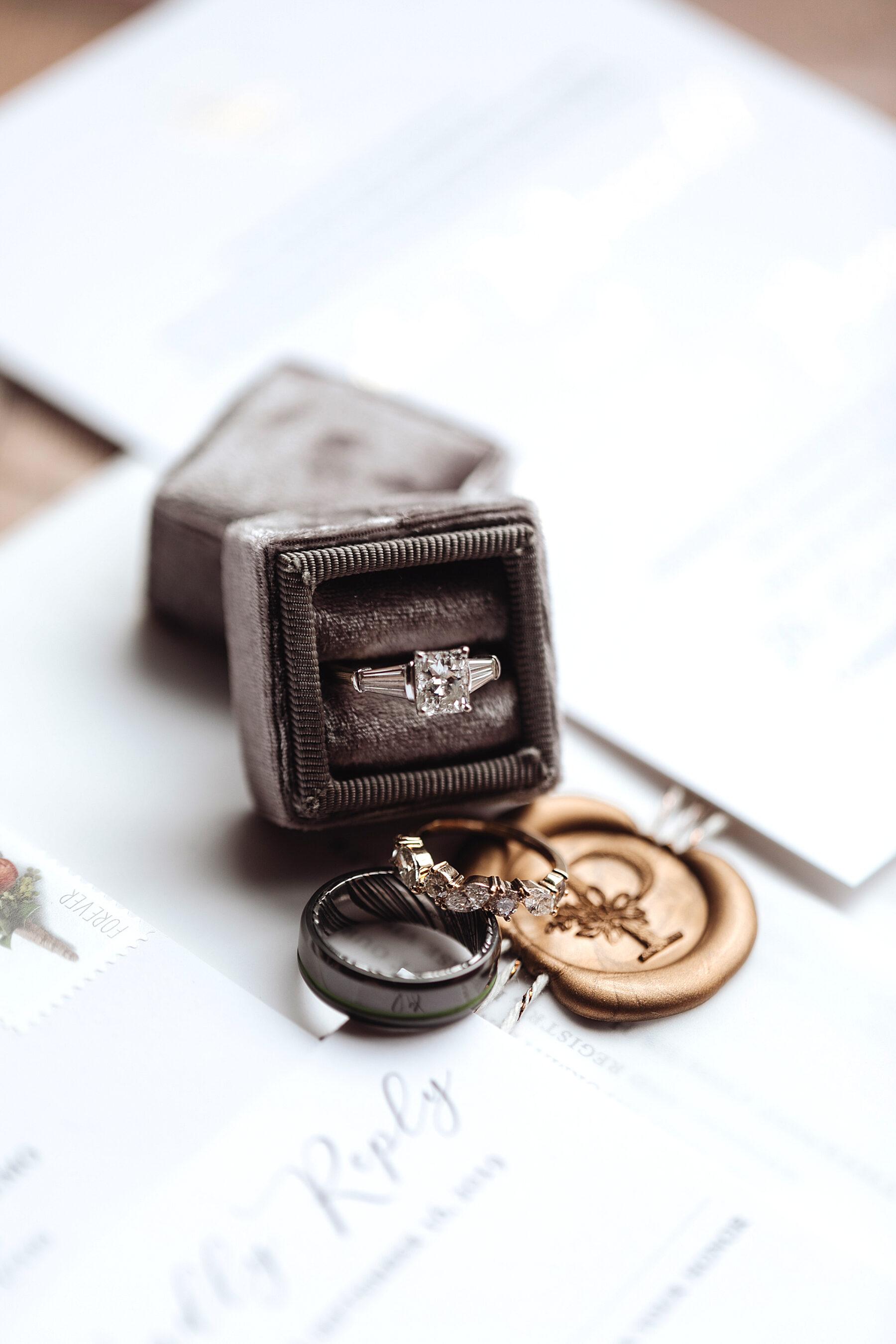 Velvet gray wedding ring box