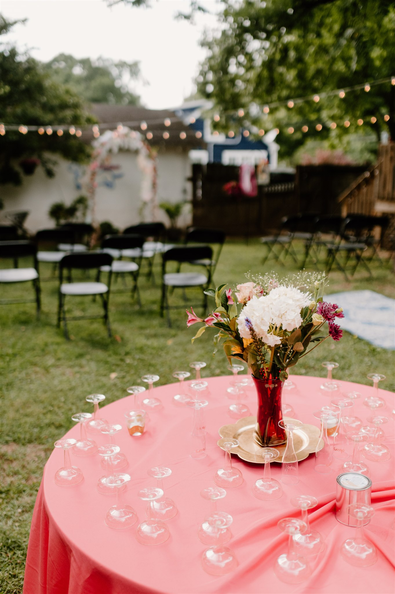 Colorful backyard wedding ceremony