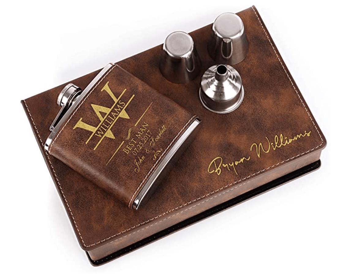 Personalized Groomsmen Flask Gift Set