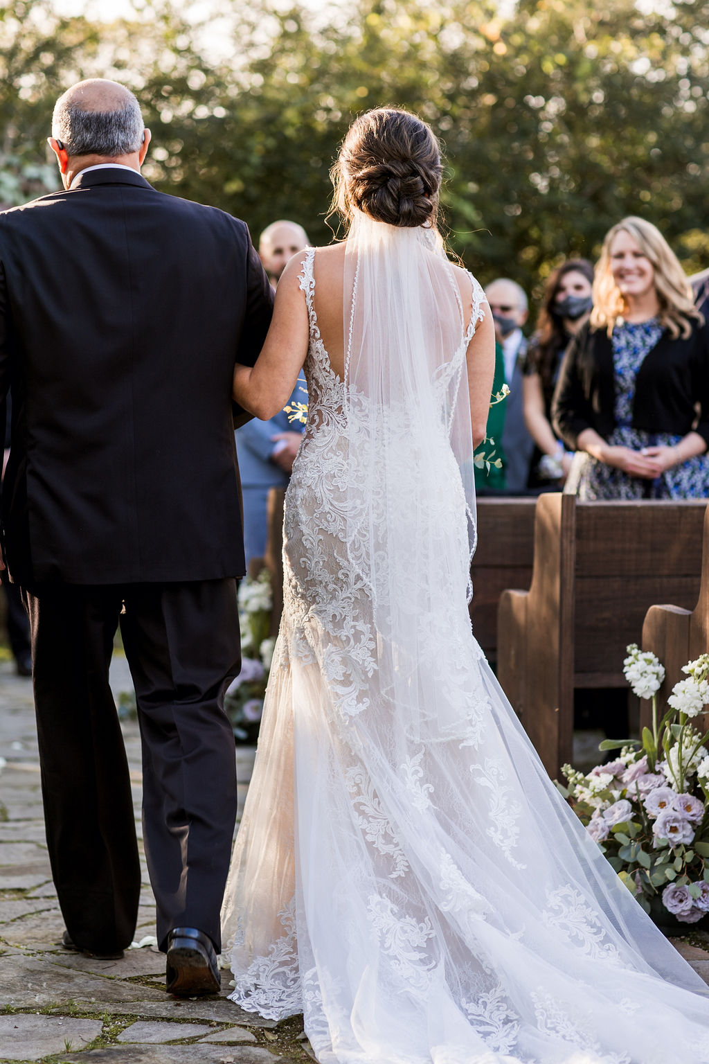 Father of the bride walking down the aisle   Nashville Bride Guide