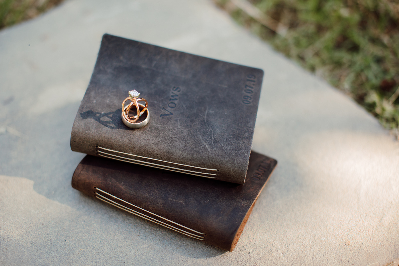 Leather wedding vow books