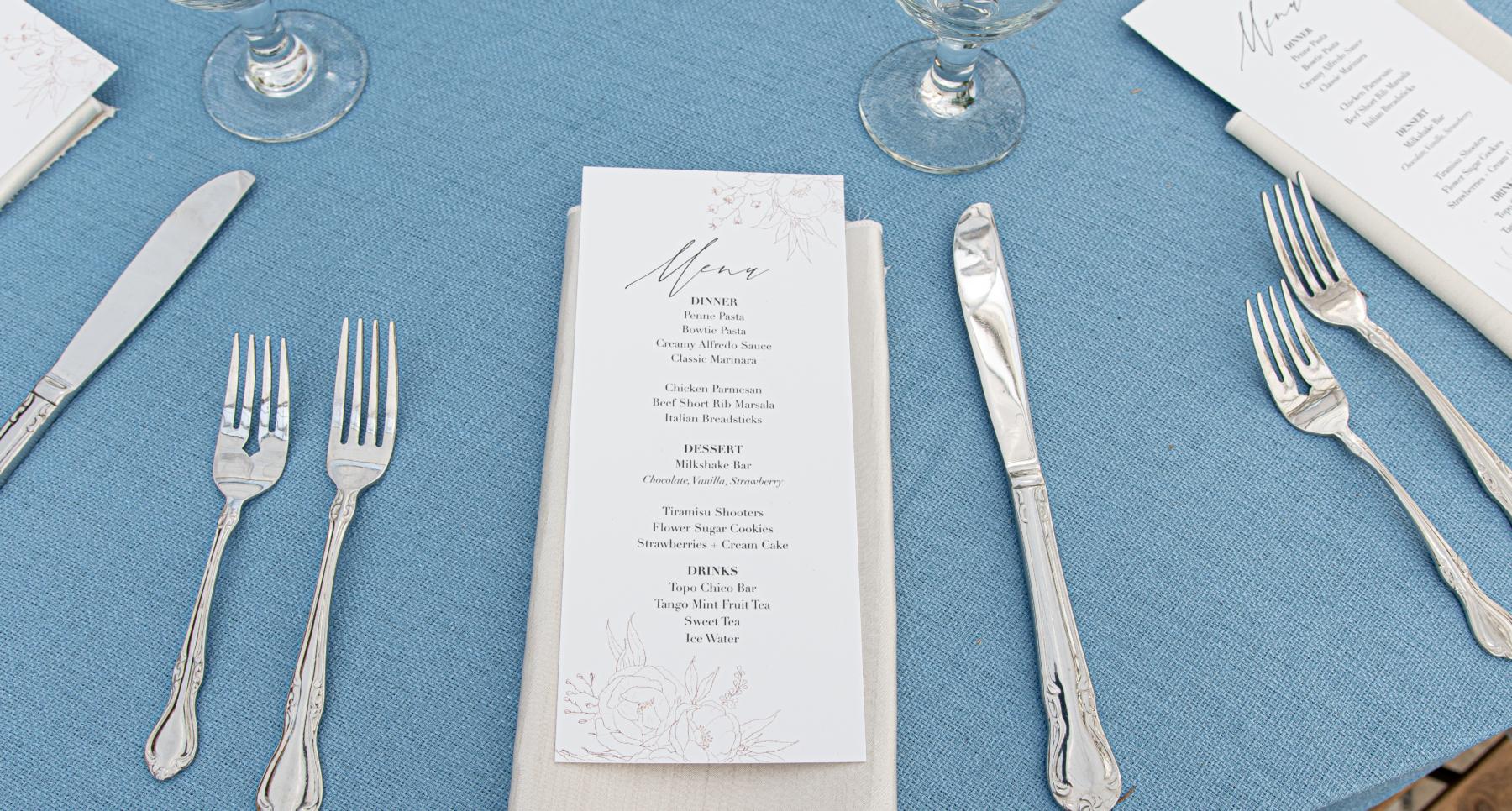 Blue and ivory wedding place setting