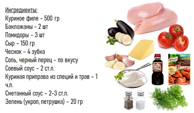 Petto di pollo al forno con le melanzane