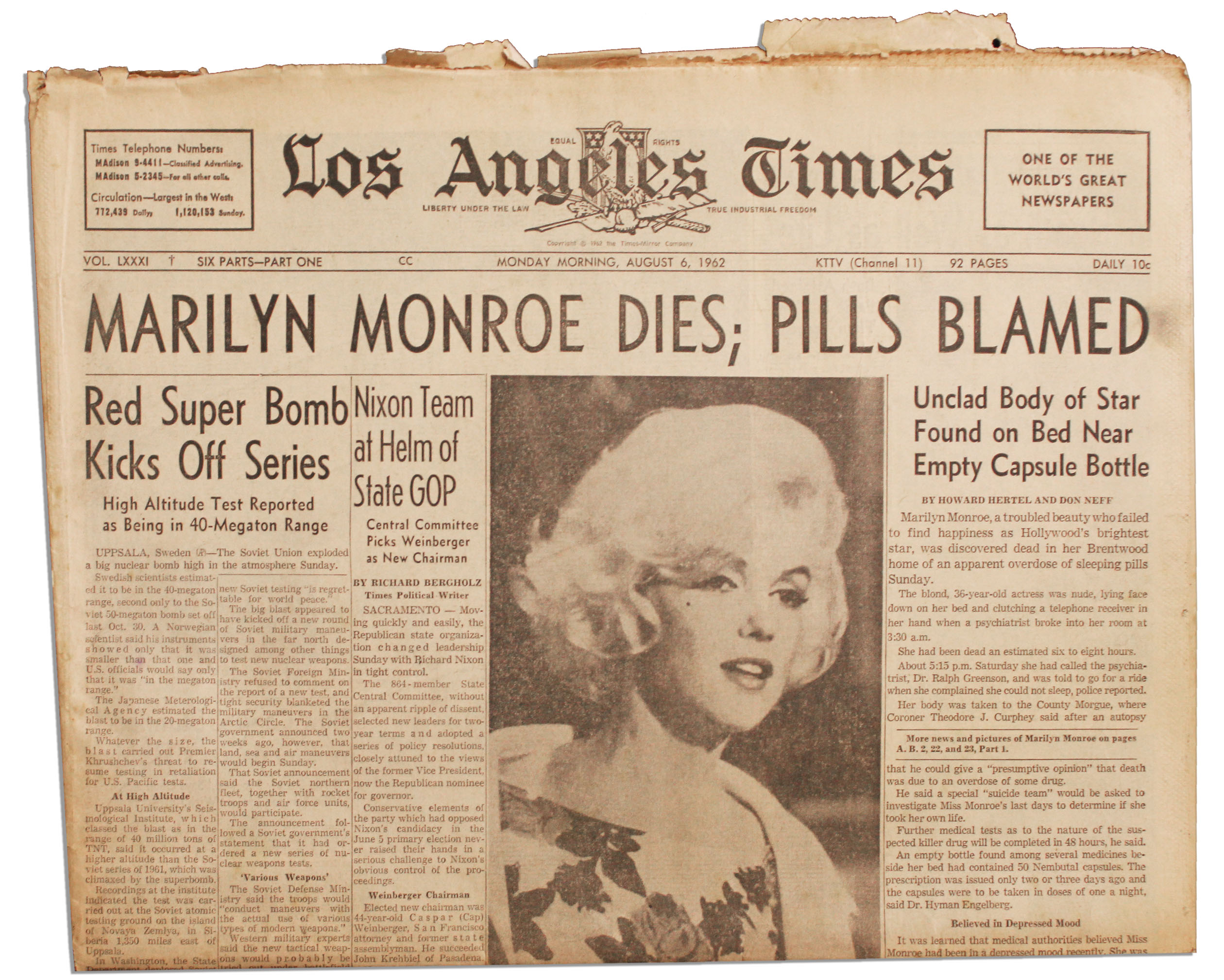 Lot Detail - Marilyn Monroe's Death Covered in the ''Los ...