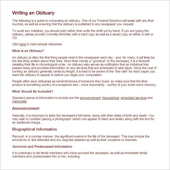 death obituary template sample