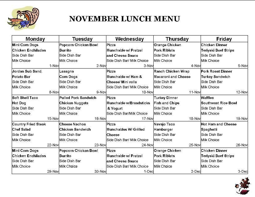 Sample School Lunch Menu