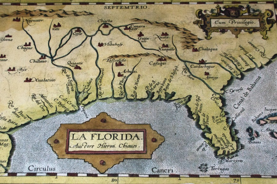 First Official Map of Florida  1584   Note Cape Canaveral is already         3440      2293 in Florida s