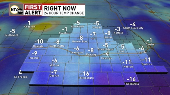 Weather   NTV   Central Nebraska News  Weather  Sports  Breaking News 24 Hour Temperature Change