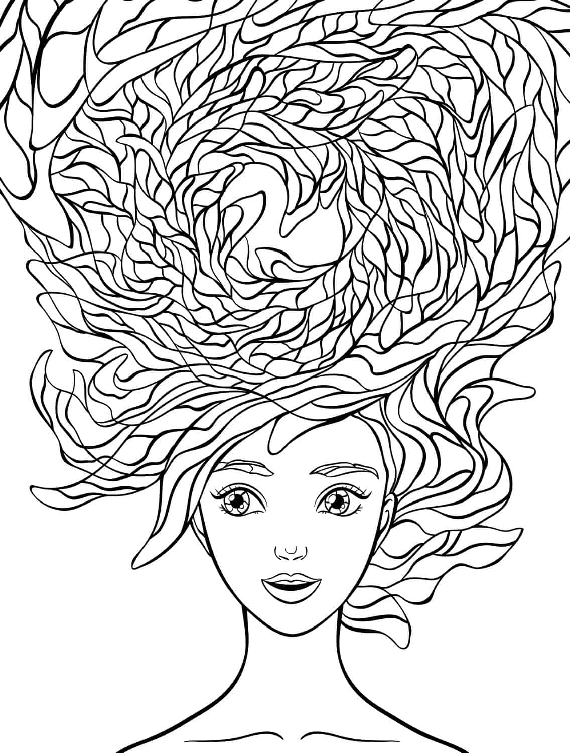 10 Crazy Hair Adult Coloring Pages Page 2 Of 12 Nerdy Mamma