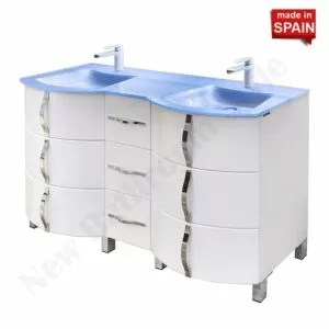 60in KROM Gossy White Double Modern Bathroom Vanity NBSBU060WH Socimobel Made In Spain
