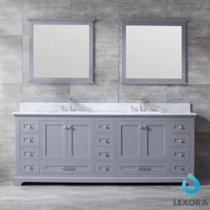 Dukes 84 Inch Double Vanity Dark Grey, White Carrera Marble Top, White Square Sinks and 34 Inch Mirrors