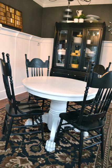White Dining Table Dark Wood Top
