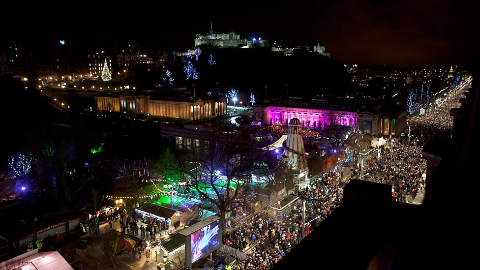 BBC News   In pictures  Edinburgh s Hogmanay 2012 The crowds stretched along Princes Street in Edinburgh as about 80 000  people celebrated the new year  Image by Ivon Bartholomew